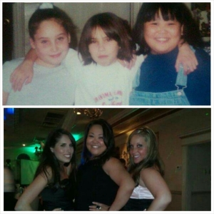 That's little Liz in the middle on the top pic and big Liz on the left in the bottom pic.